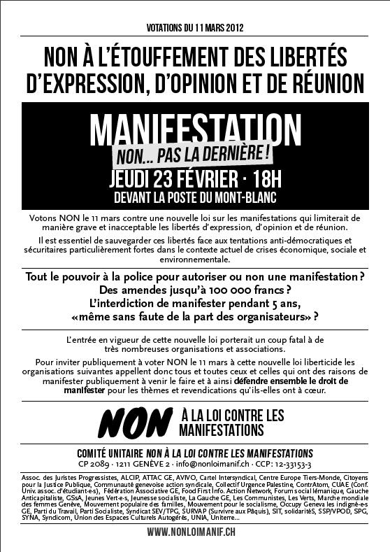 Manifestation 23 février 2012 - Non à la loi manif