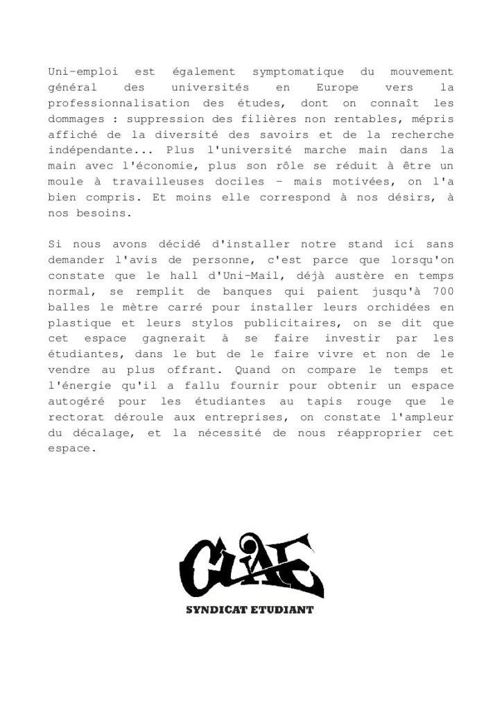 Action symbolique de la CUAE contre le Forum Uni-Emploi - Verso