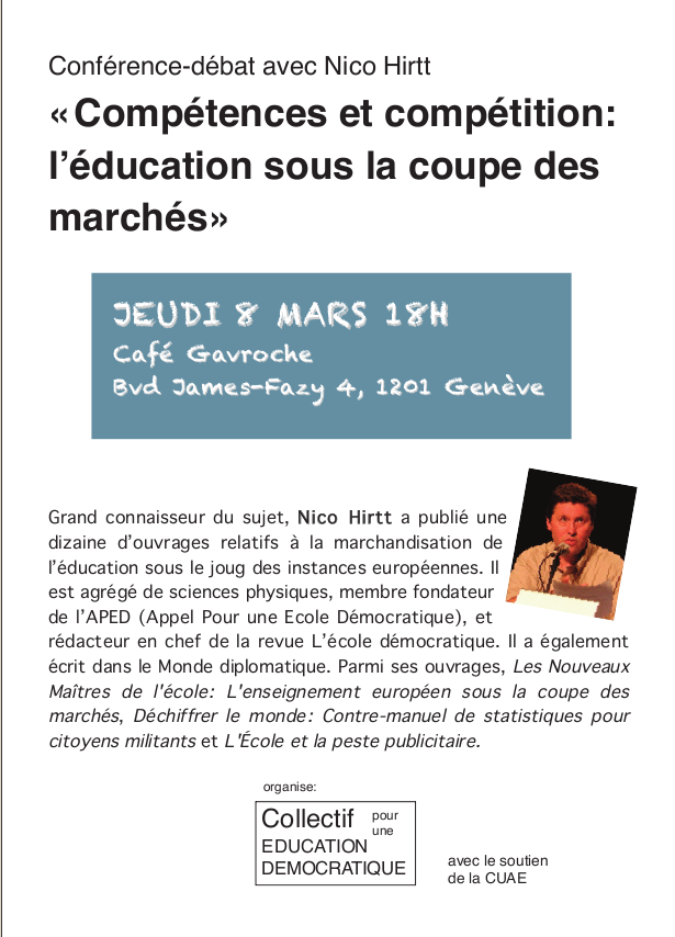 Conférence avec Nico Hirtt à Genève