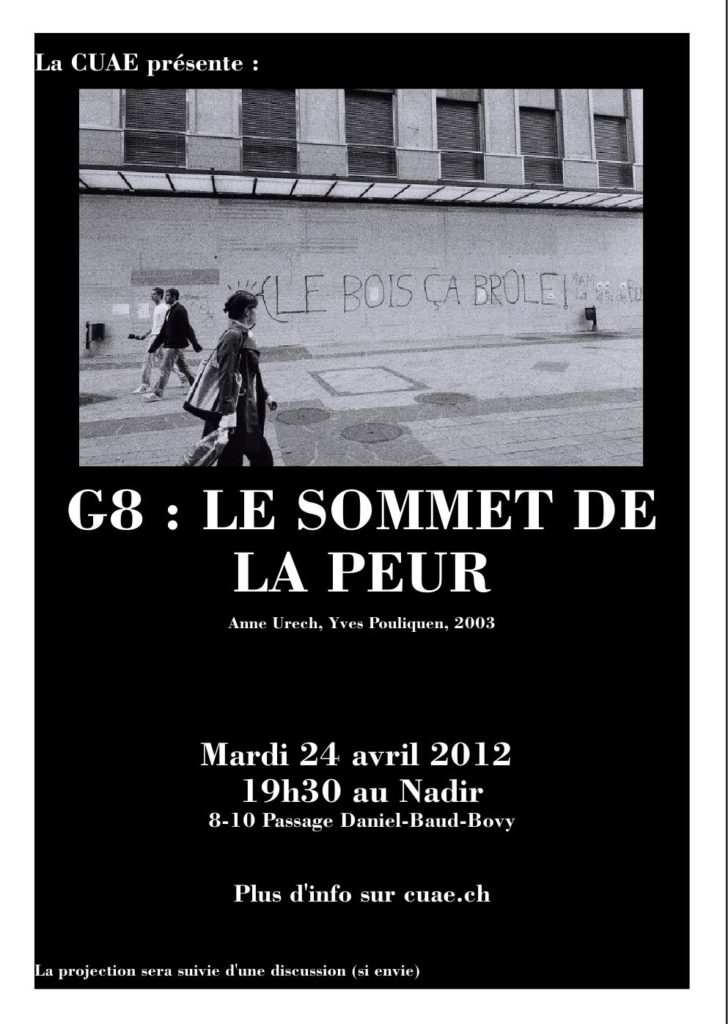 """Projection de """"G8 - le sommet de la peur"""""""