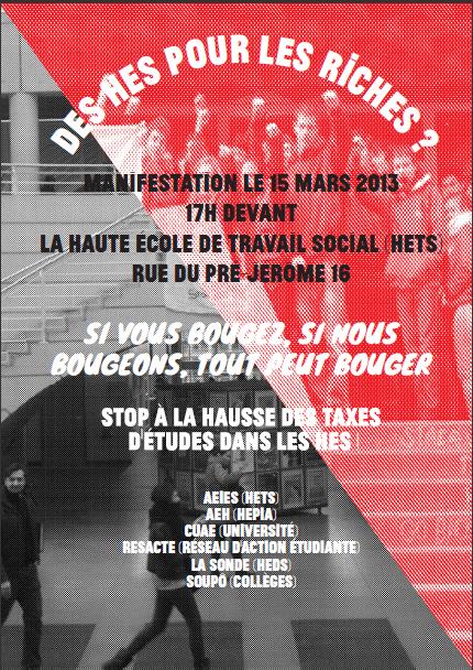 Manifestation le 15 mars 2013: STOP À LA HAUSSE DES TAXES!