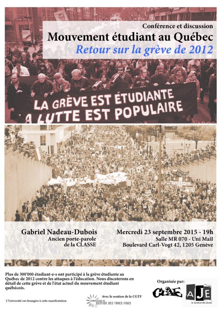 Mouvement étudiant au Québec - Retour sur la grève de 2012
